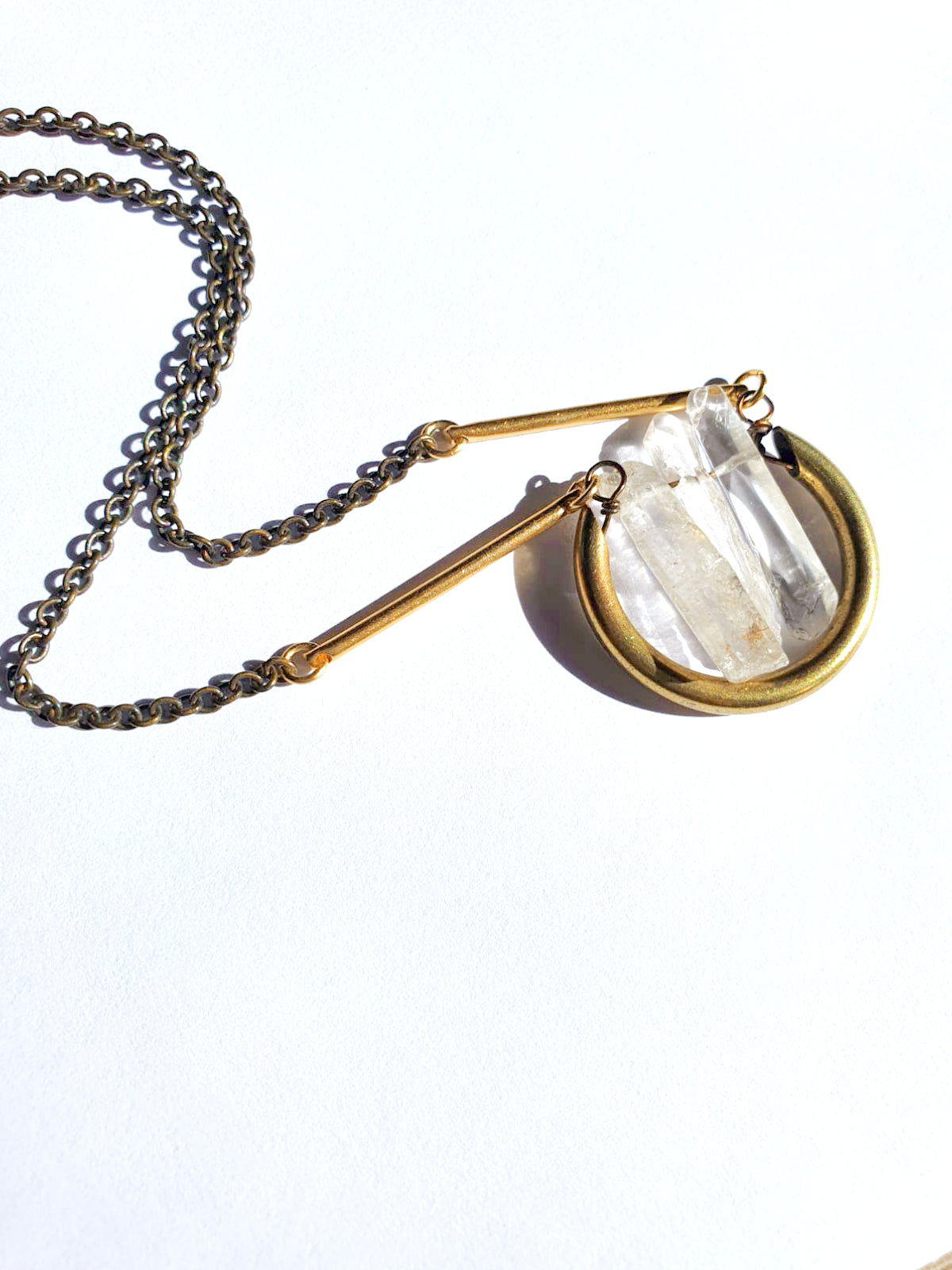 Triple Quartz & Brass - Necklace
