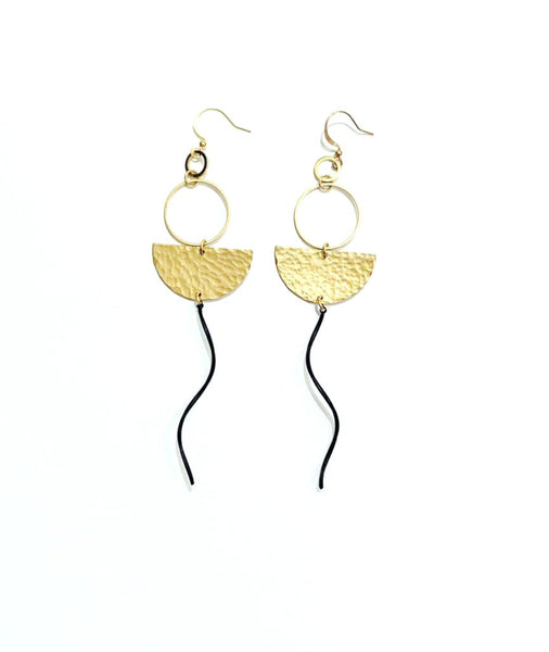 Wavy Black and Hammered Brass Hanging Earrings