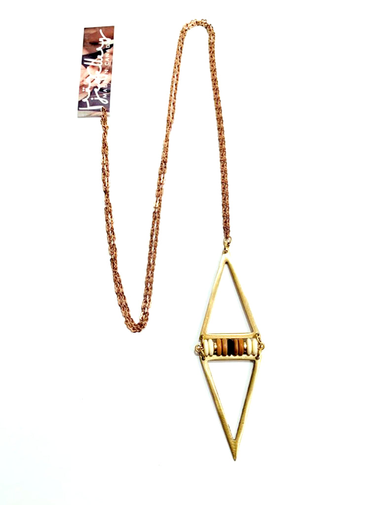 Beaded and Brass Pointed Necklace