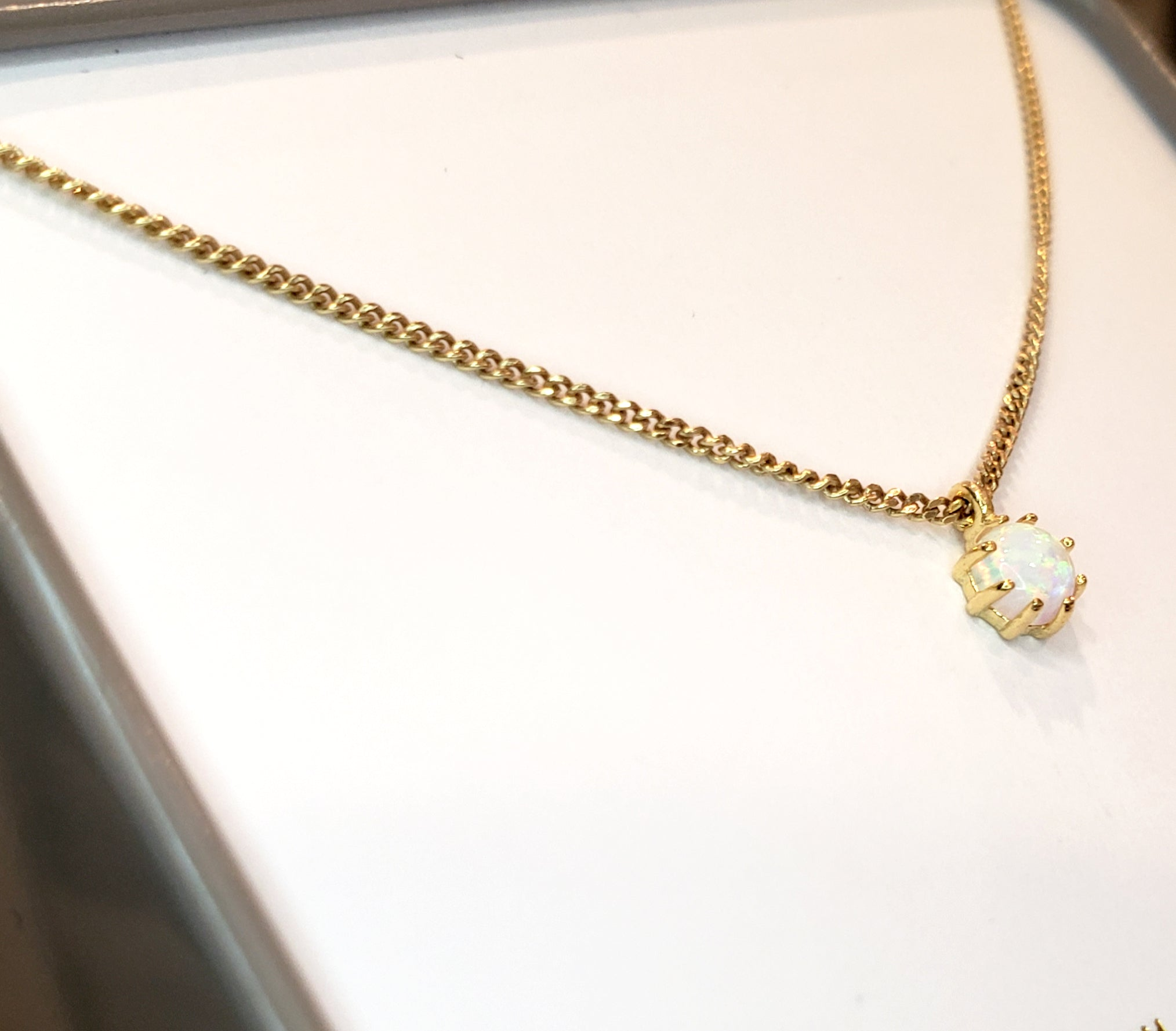 Dainty Opal & Gold Necklace