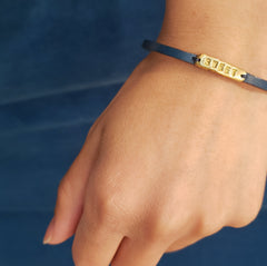 """Sweet"" Leather and Brass Band Bracelet"