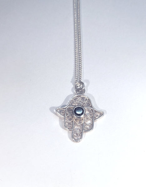 ONYX AND HAMSA - Sterling Silver Necklace