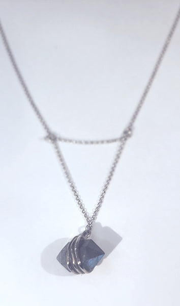 LABRADORITE WITH SILVER - Wrap Necklace