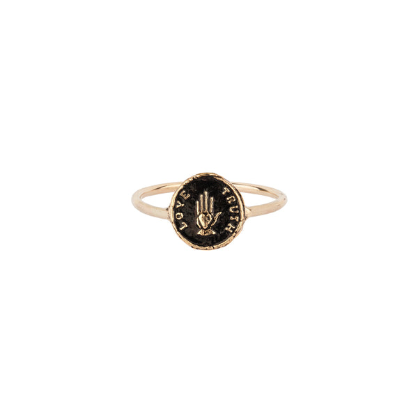 14 Karat 'Love Truth' Talisman Ring
