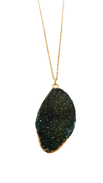 Dark Green Druzy Pendant