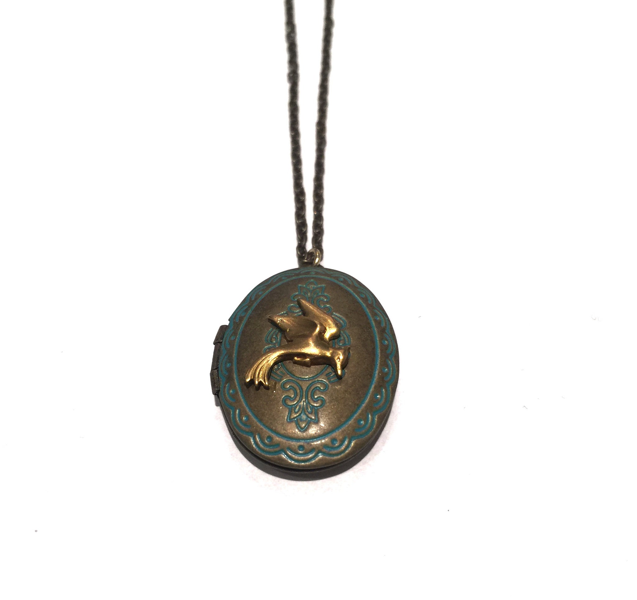 Antiqued Bird Locket