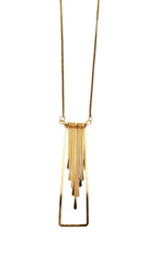 Metal Framed Tassel Necklace