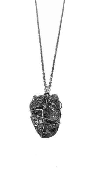 Caged Silver Druzy Necklace