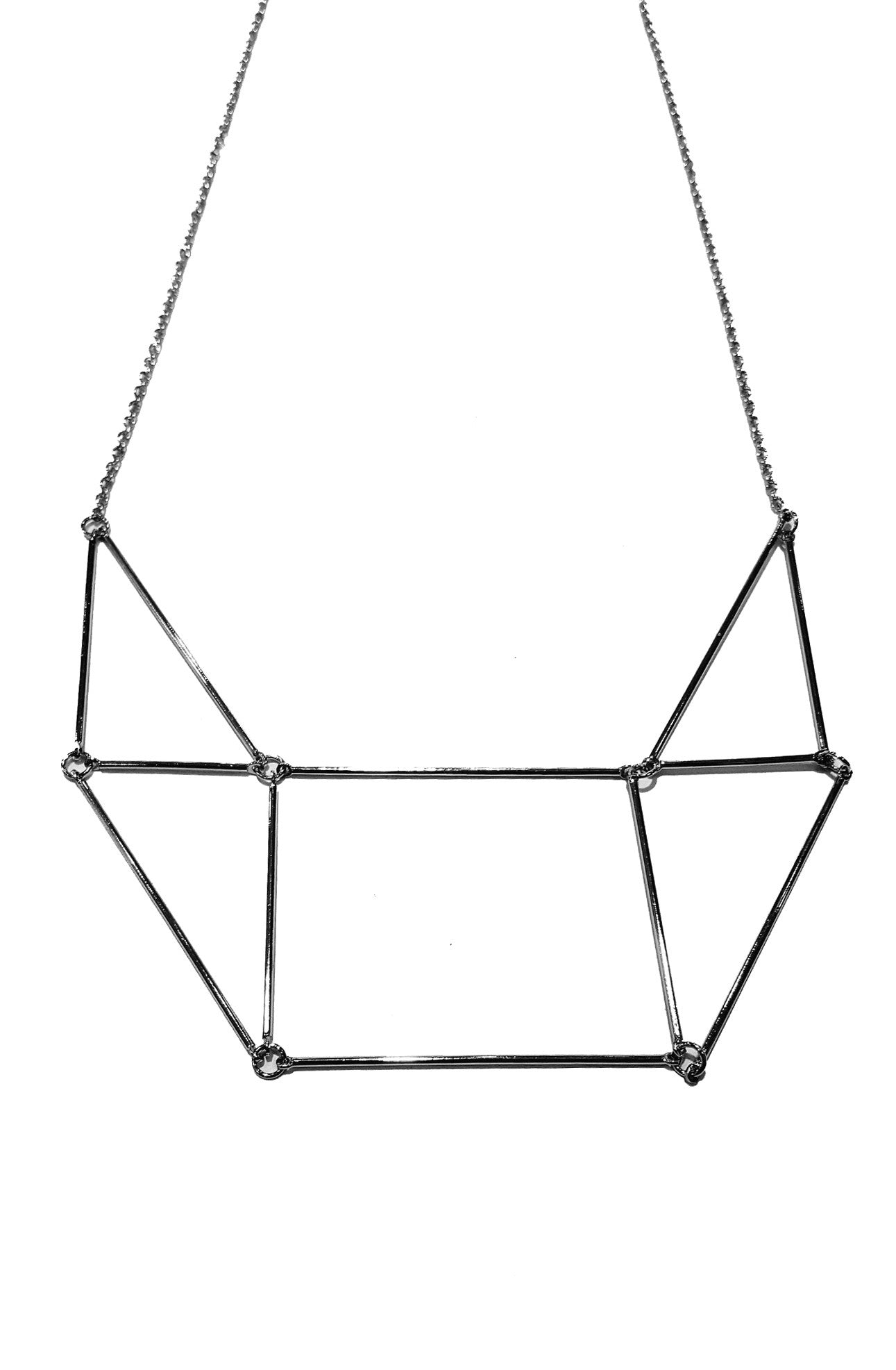 Silver Geometric Design Necklace