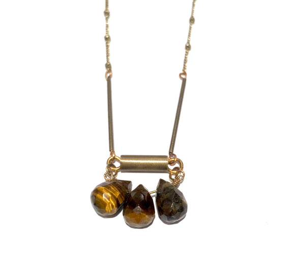 Tiger's Eye Tear Drop Necklace
