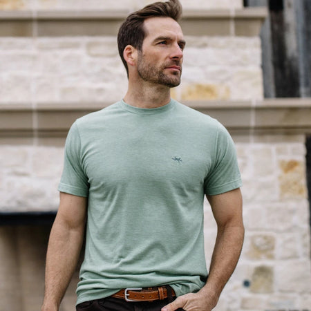 Performance Hybrid Tee - Heather Green - Texas Standard