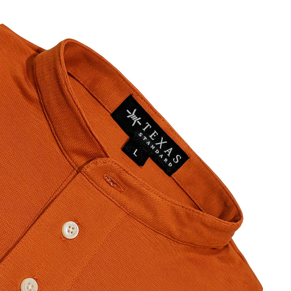 Band Collar Performance Polo - Burnt Orange - Texas Standard