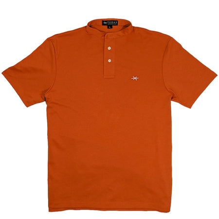 Band Collar Performance Polo - Burnt Orange
