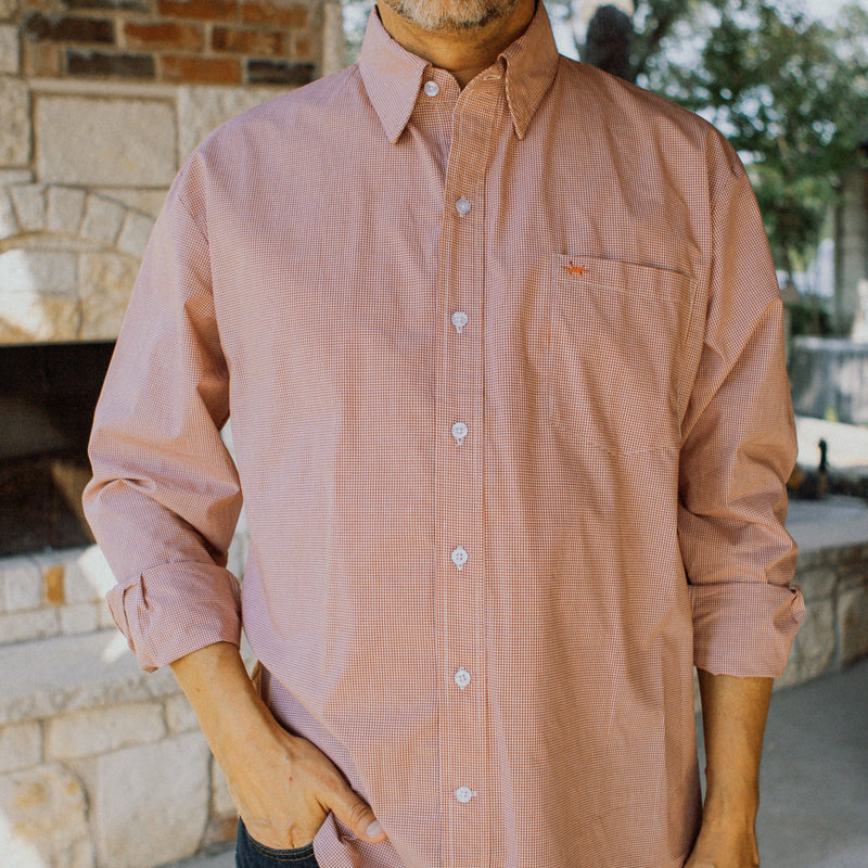 Gameday Sport Shirt - Burnt Orange Microcheck - Texas Standard