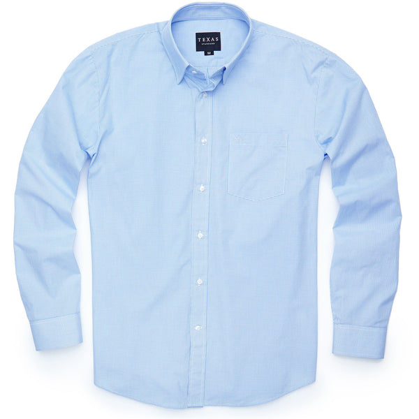 Standard Sport Shirt - Light Blue Microcheck - Texas Standard