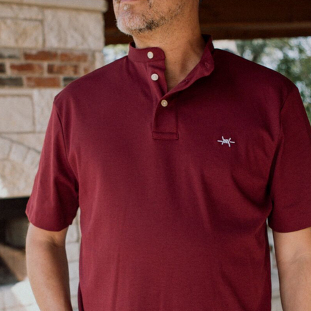Band Collar Performance Polo - Maroon