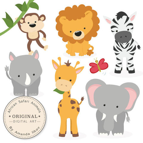 Safari Animals Clipart in Natural by Amanda Ilkov - Mandy Art Market - 1