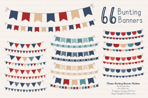 Classic Bunting Banner Clipart in Americana by Amanda Ilkov - Mandy Art Market - 1