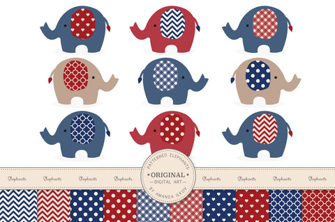 Elephant Clipart & Digital Papers in Americana by Amanda Ilkov - Mandy Art Market
