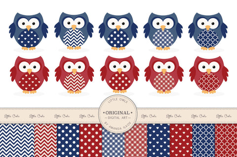 Owl Clipart & Digital Papers in Americana by Amanda Ilkov - Mandy Art Market - 1