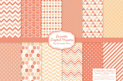 Geometric Digital Papers in Antique Peach by Amanda Ilkov - Mandy Art Market - 1