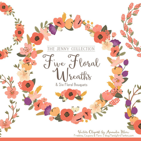 Round Floral Wreaths Clipart in Antique Peach by Amanda Ilkov - Mandy Art Market - 1