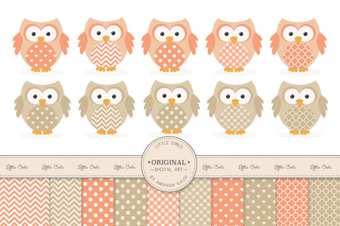 Owl Clipart & Digital Papers in Antique Peach by Amanda Ilkov - Mandy Art Market - 1