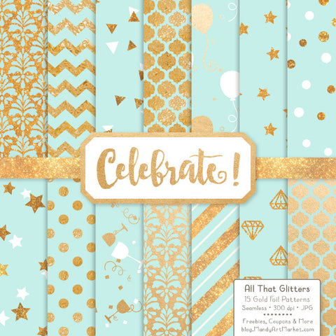Celebrate Gold Foil Digital Papers in Aqua by Amanda Ilkov - Mandy Art Market - 1