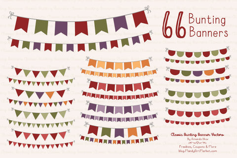 Classic Bunting Banner Clipart in Autumn by Amanda Ilkov - Mandy Art Market - 1
