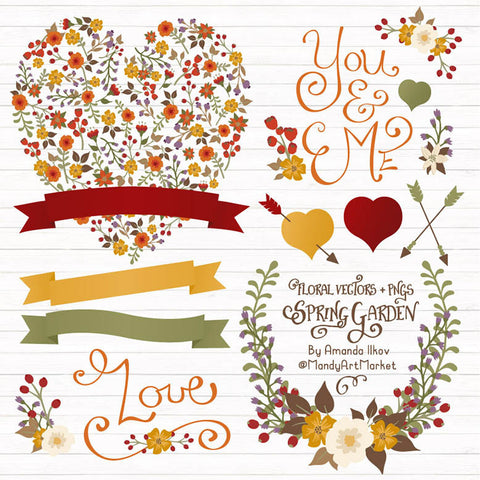 Floral Heart Clipart in Autumn by Amanda Ilkov - Mandy Art Market - 1