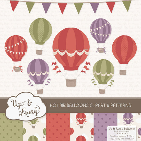 Hot Air Balloons Clipart & Digital Papers in Autumn by Amanda Ilkov - Mandy Art Market - 1