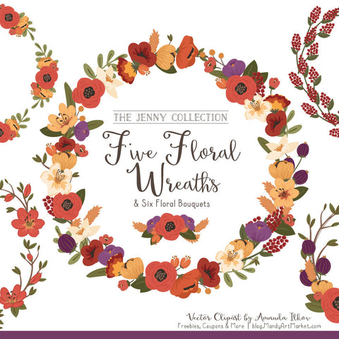 Round Floral Wreaths Clipart in Autumn by Amanda Ilkov - Mandy Art Market - 1