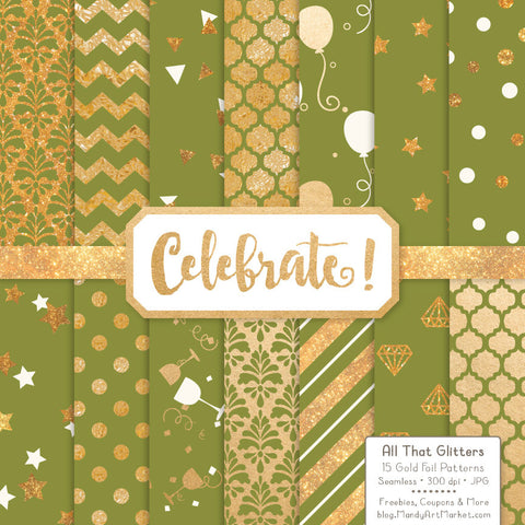Celebrate Gold Foil Digital Papers in Avocado by Amanda Ilkov - Mandy Art Market - 1