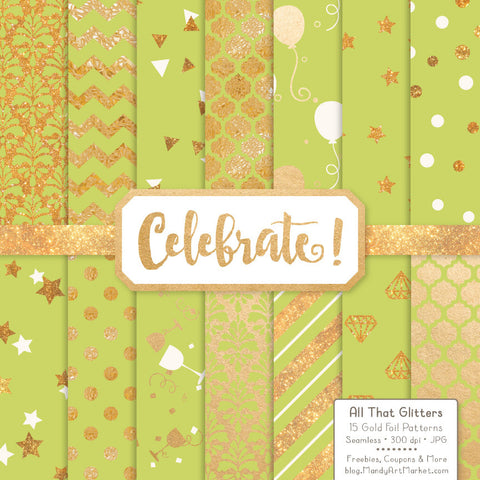 Celebrate Gold Foil Digital Papers in Bamboo by Amanda Ilkov - Mandy Art Market - 1