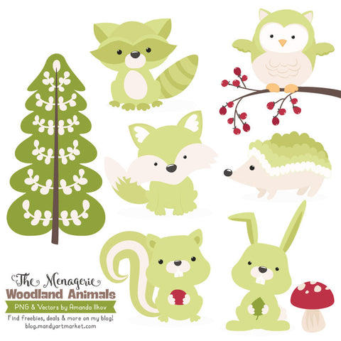 Woodland Animals Clipart in Bamboo by Amanda Ilkov - Mandy Art Market - 1