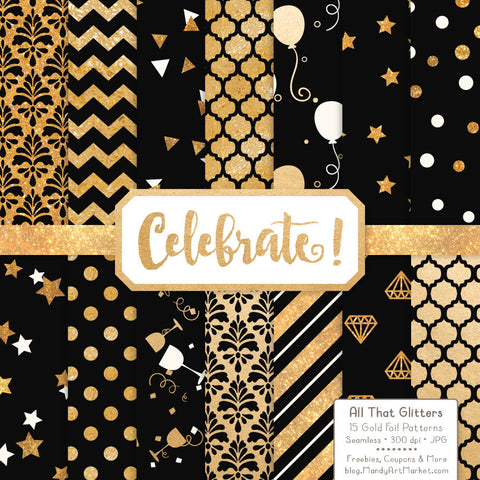 Celebrate Gold Foil Digital Papers in Black by Amanda Ilkov - Mandy Art Market - 1