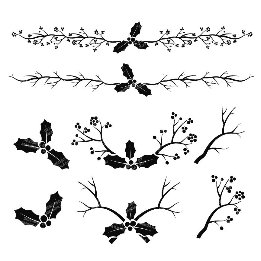 clip art holly leaves black and white - photo #22
