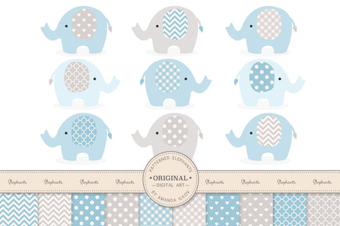 Elephant Clipart & Digital Papers in Blue & Grey by Amanda Ilkov - Mandy Art Market