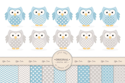 Owl Clipart & Digital Papers in Blue & Grey by Amanda Ilkov - Mandy Art Market - 1
