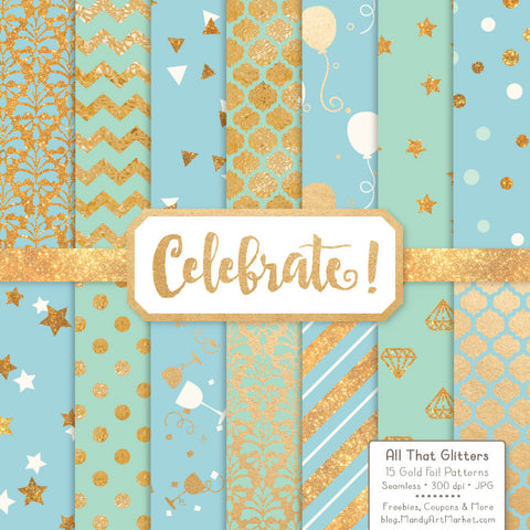 Celebrate Gold Foil Digital Papers in Blue & Mint by Amanda Ilkov - Mandy Art Market - 1