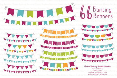 Classic Bunting Banner Clipart in Bohemian by Amanda Ilkov - Mandy Art Market - 1