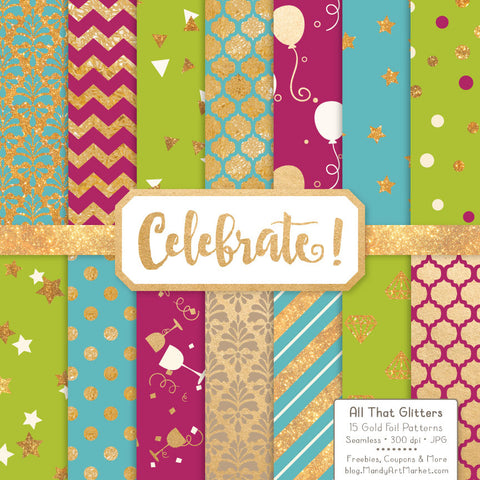 Celebrate Gold Foil Digital Papers in Bohemian by Amanda Ilkov - Mandy Art Market - 1