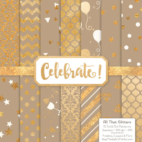 Celebrate Gold Foil Digital Papers in Champagne by Amanda Ilkov - Mandy Art Market - 1