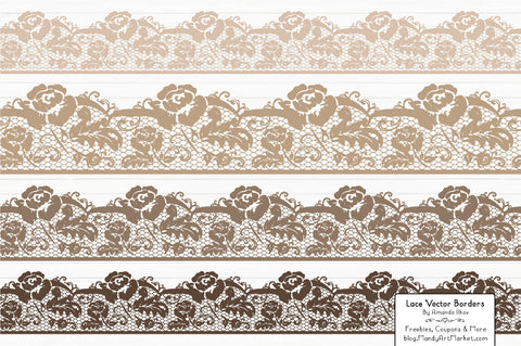 Lace Border Clipart in Champagne by Amanda Ilkov - Mandy Art Market - 1