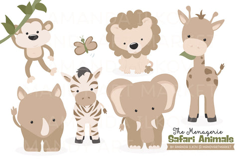 Safari Animals Clipart in Champagne by Amanda Ilkov - Mandy Art Market - 1
