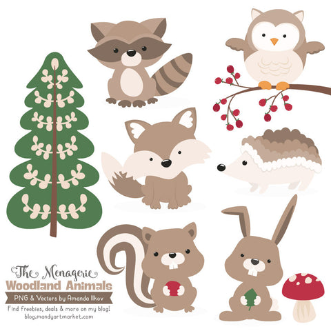 Woodland Animals Clipart in Champagne by Amanda Ilkov - Mandy Art Market - 1