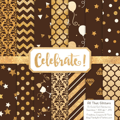 Celebrate Gold Foil Digital Papers in Chocolate by Amanda Ilkov - Mandy Art Market - 1