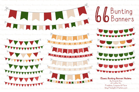 Classic Bunting Banner Clipart in Christmas by Amanda Ilkov - Mandy Art Market - 1