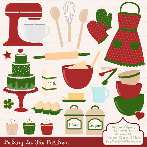 Baking Clipart in Christmas by Amanda Ilkov - Mandy Art Market - 1
