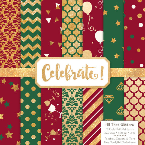 Celebrate Gold Foil Digital Papers in Christmas by Amanda Ilkov - Mandy Art Market - 1